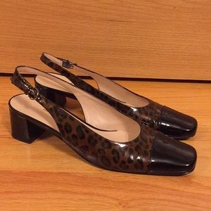 Vintage Salvatore Ferragamo leopard slingback heel